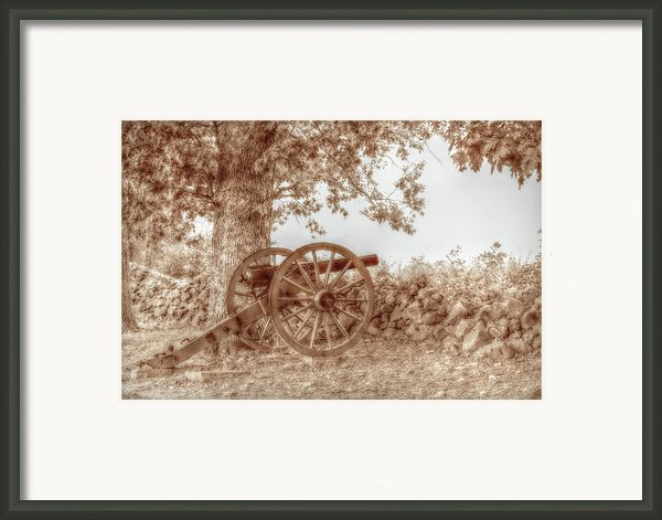 Gettysburg Battlefield Cannon Seminary Ridge Sepia Framed Print By Randy Steele