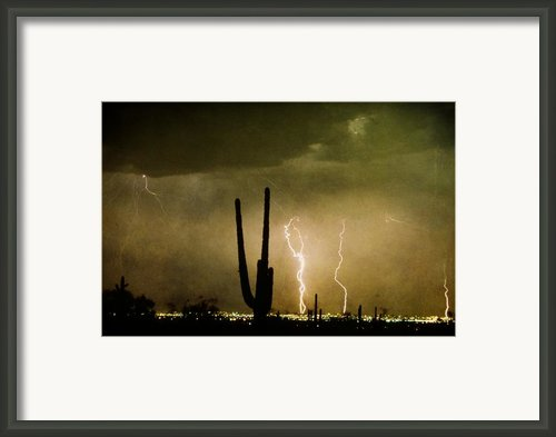 Giant Saguaro Southwest Lightning  Peace Out  Framed Print By James Bo Insogna