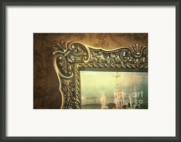 Gilded Mirror Reflection Of Chandelier Framed Print By Sandra Cunningham