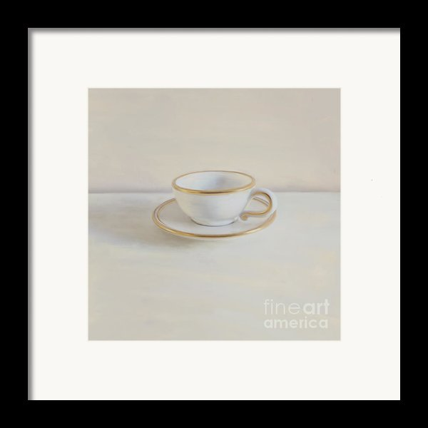 Gilt Cup On White Marble Framed Print By Paul Grand