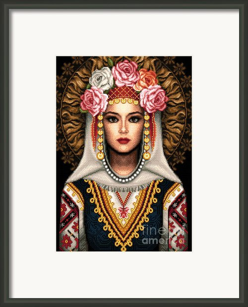 Girl In Bulgarian National Costume Framed Print By Stoyanka Ivanova