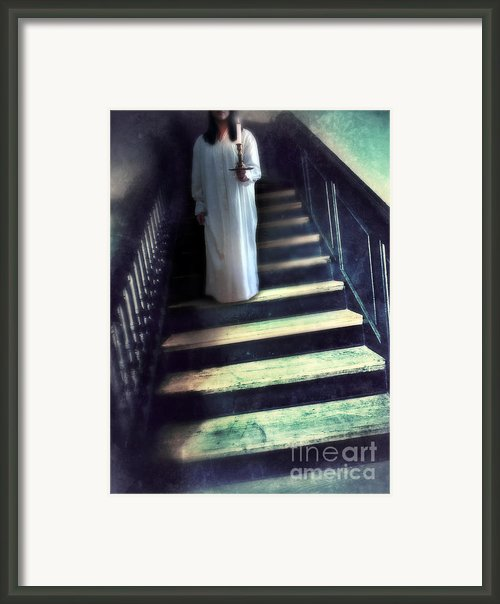 Girl In Nightgown On Steps Framed Print By Jill Battaglia