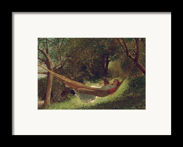 Girl In The Hammock Framed Print By Winslow Homer