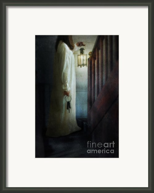 Girl On Stairs With Lantern And Keys Framed Print By Jill Battaglia