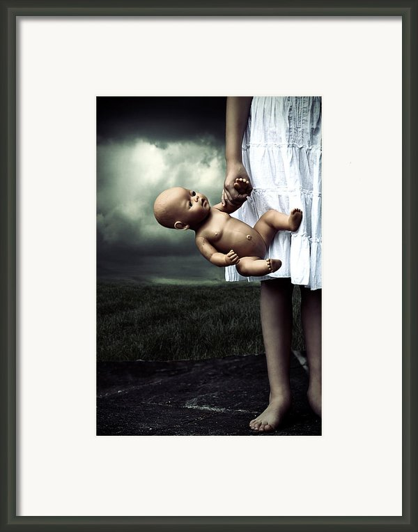 Girl With A Baby Doll Framed Print By Joana Kruse
