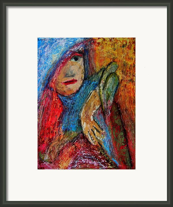 Girl With A Green Parrot  Framed Print By Tammy Cantrell