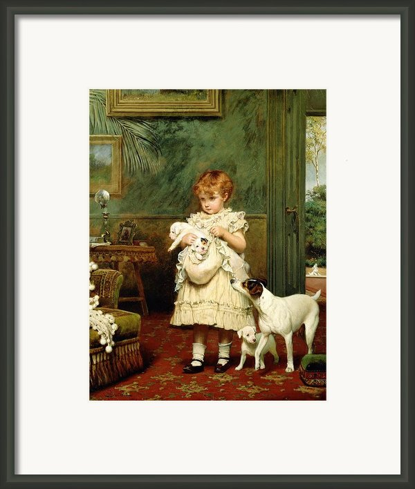 Girl With Dogs Framed Print By Charles Burton Barber