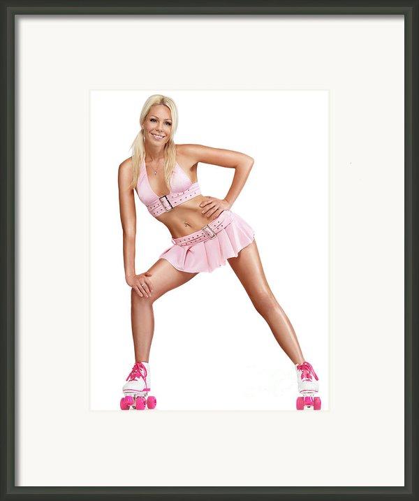 Glamorous Girl On Roller Skates Framed Print By Oleksiy Maksymenko