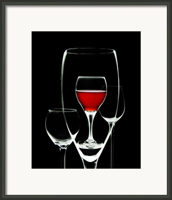 Glass Of Wine In Glass Framed Print By Tom Mc Nemar