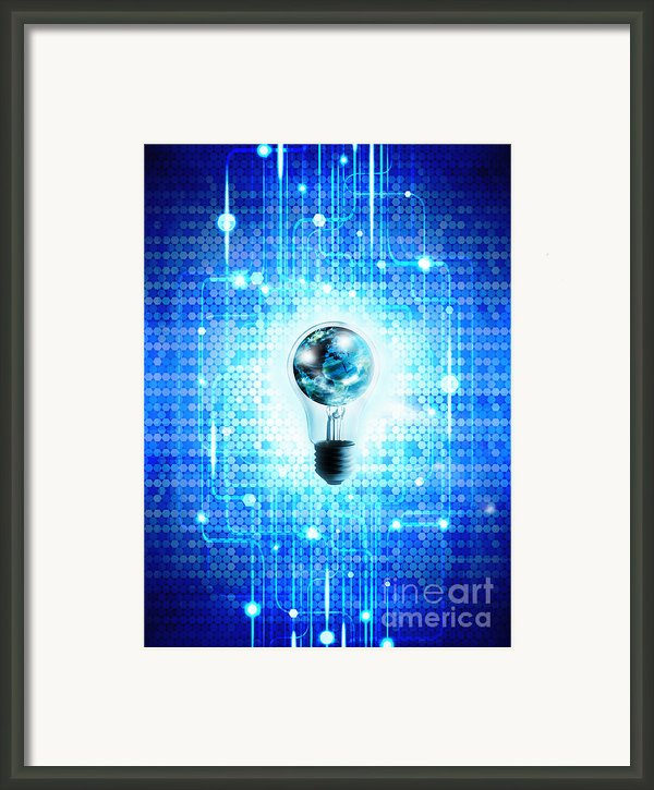 Globe And Light Bulb With Technology Background Framed Print By Setsiri Silapasuwanchai