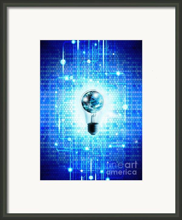 Globe And Light Bulb With Technology Background Framed Print By Setsiri Silapasuwanchai