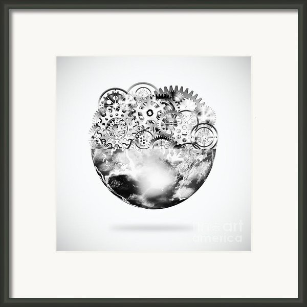 Globe With Cogs And Gears Framed Print By Setsiri Silapasuwanchai