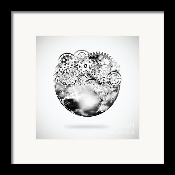 Globe With Cogs And Gears Framed Print By Setsiri Silapasuwanchai