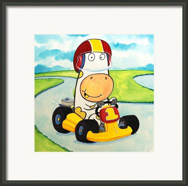Go Cart Cow Framed Print By Scott Nelson