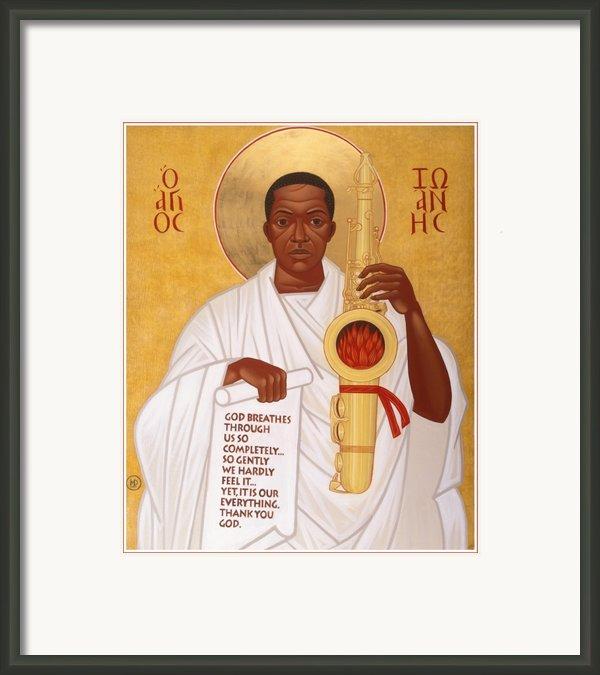 God Breathes Through The Holy Horn Of St. John Coltrane. Framed Print By Mark Dukes