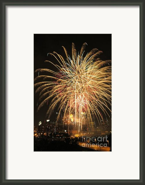 Golden Fireworks Over Minneapolis Framed Print By Heidi Hermes