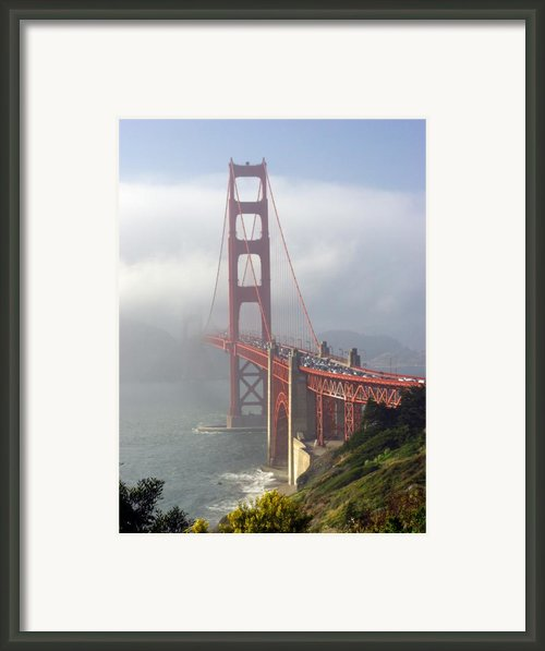 Golden Gate Bridge In The Fog Framed Print By Mathew Lodge