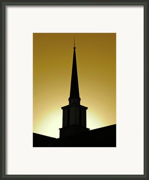Golden Sky Steeple Framed Print By Cml Brown