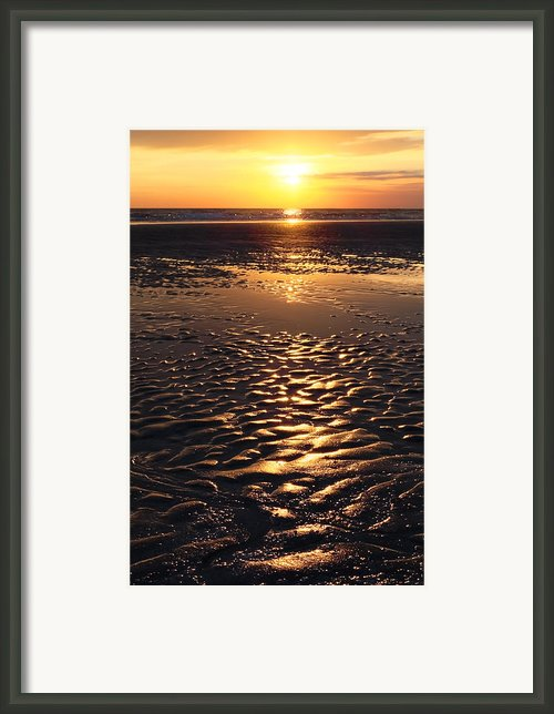 Golden Sunset On The Sand Beach Framed Print By Setsiri Silapasuwanchai