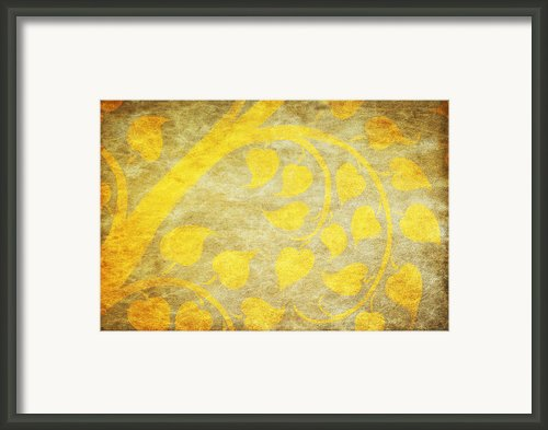 Golden Tree Pattern On Paper Framed Print By Setsiri Silapasuwanchai