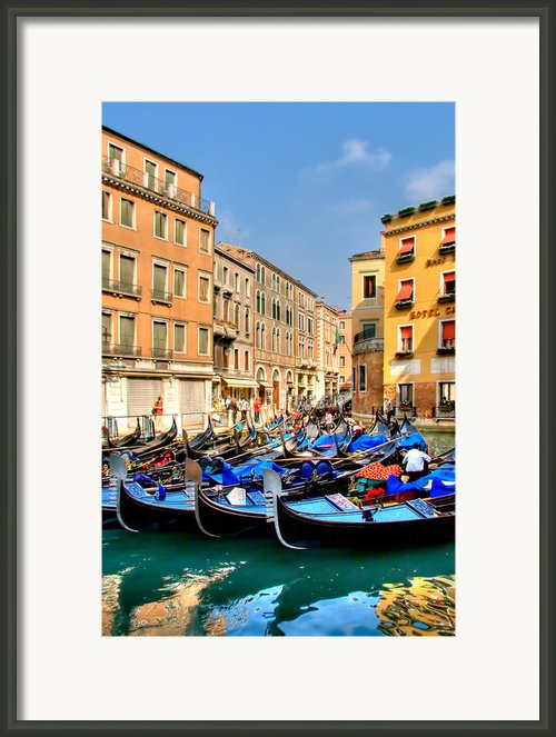 Gondolas In The Square Framed Print By Peter Tellone