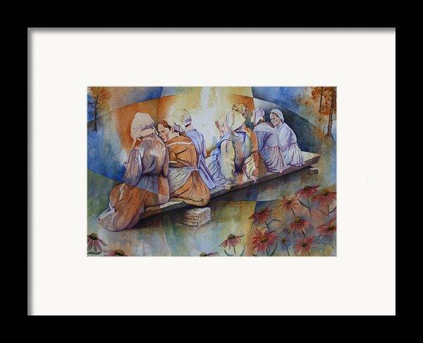 Gossip Bench Framed Print By Patsy Sharpe