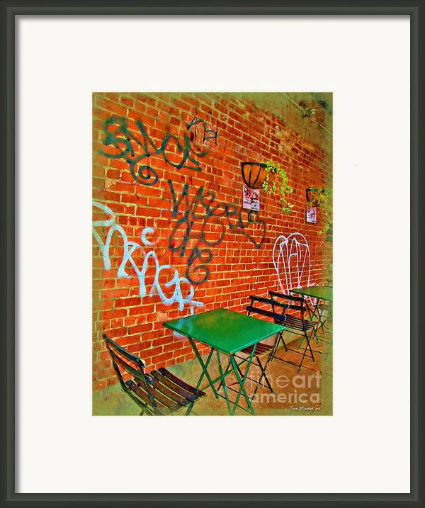 Grafitti Dining Framed Print By Joan  Minchak