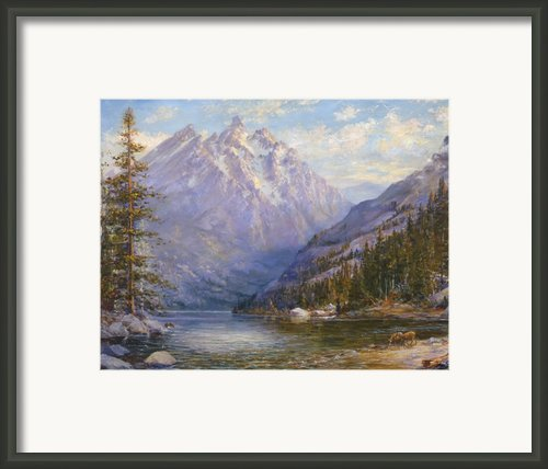 Grand Tetons And Jenny Lake Tryptych Center Framed Print By Lewis A Ramsey
