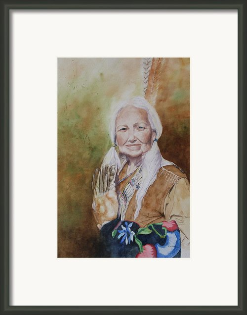 Grandmother Many Horses Framed Print By Patsy Sharpe