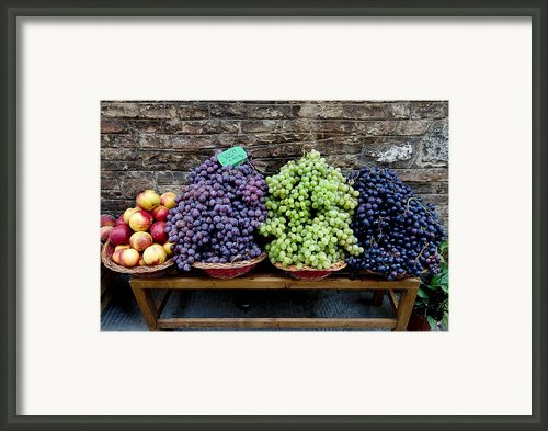 Grapes And Nectarines On A Bench Framed Print By Todd Gipstein