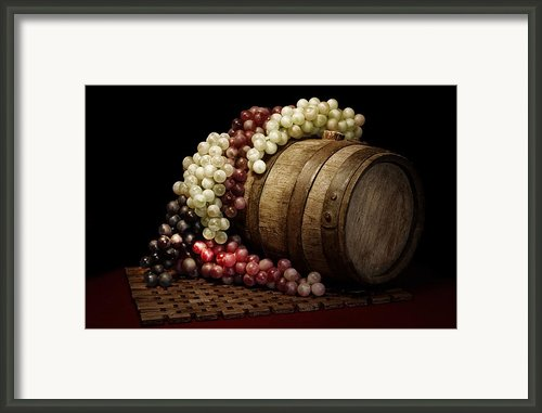 Grapes And Wine Barrel Framed Print By Tom Mc Nemar