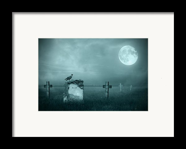 Gravestones In Moonlight Framed Print By Jaroslaw Grudzinski