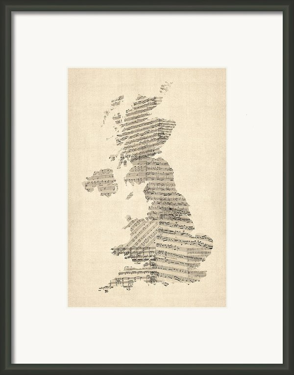 Great Britain Uk Old Sheet Music Map Framed Print By Michael Tompsett