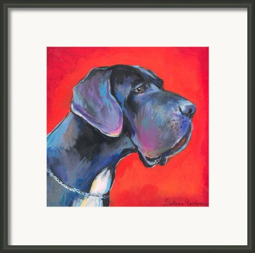 Great Dane Painting Framed Print By Svetlana Novikova