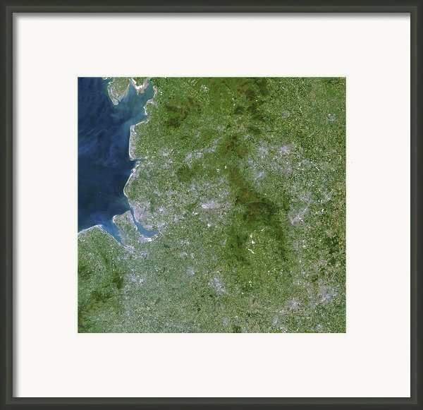 Greater Manchester, Satellite Image Framed Print By Planetobserver