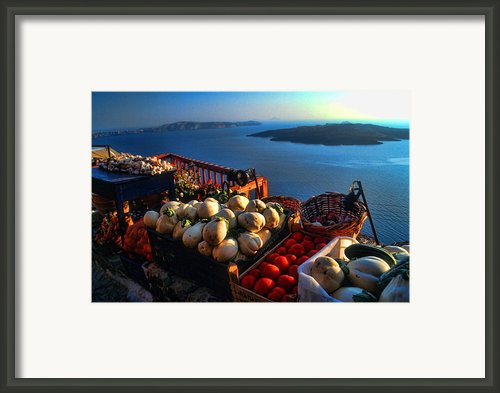 Greek Food At Santorini Framed Print By David Smith