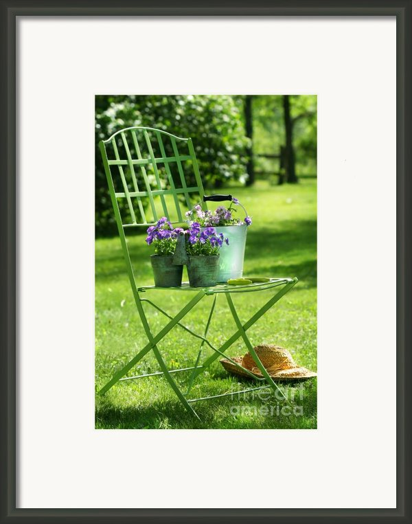 Green Garden Chair Framed Print By Sandra Cunningham