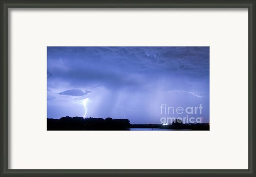 Green Lightning Bolt Ball And Blue Lightning Sky Framed Print By James Bo Insogna