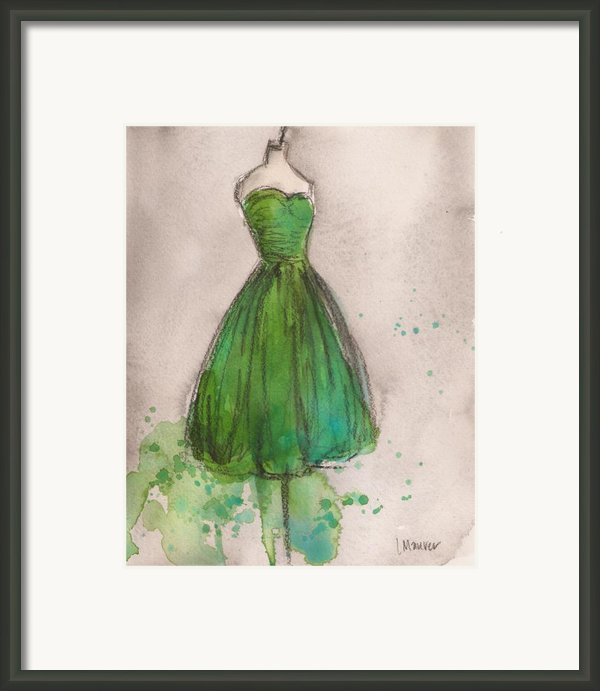 Green Strapless Dress Framed Print By Lauren Maurer