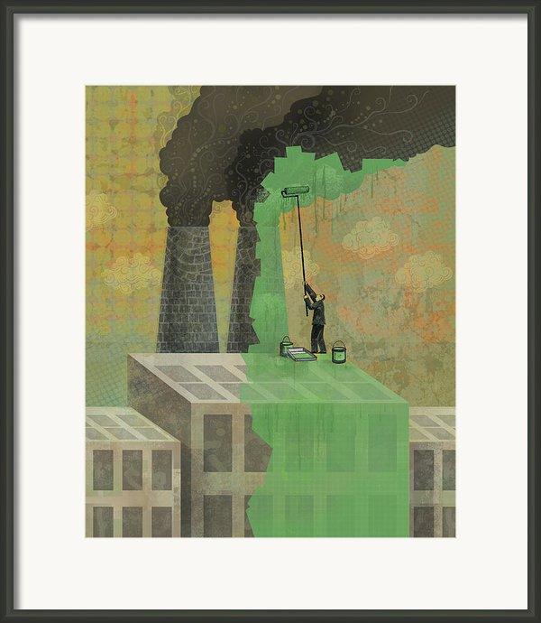Greenwashing Framed Print By Dennis Wunsch
