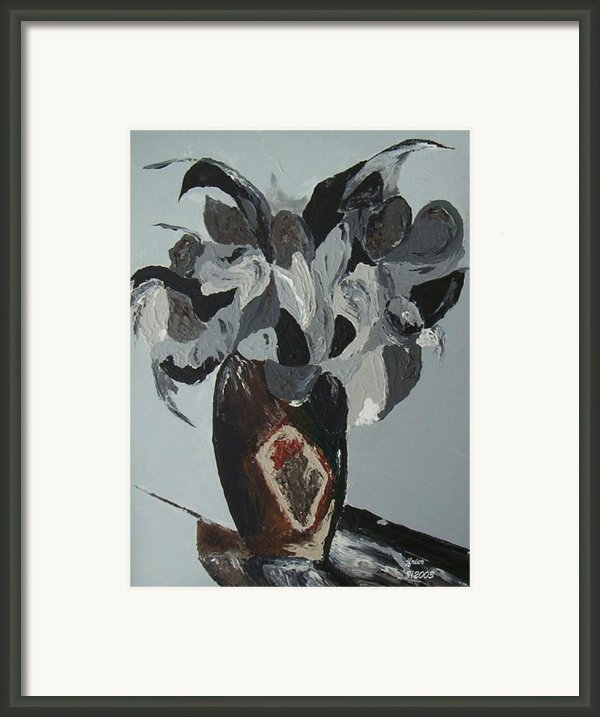 Grey Flowers In Vase Framed Print By Jamie Frier