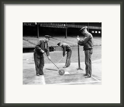 Groundskeepers Preparing Home Plate Framed Print By Everett