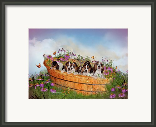 Growing Puppies Framed Print By Carol Cavalaris
