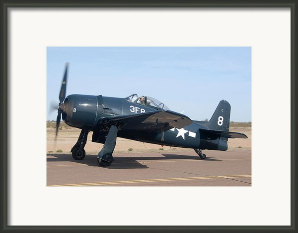 Grumman F8f-1 Bearcat Nl9g Casa Grande Airport Arizona March 5 2011 Framed Print By Brian Lockett