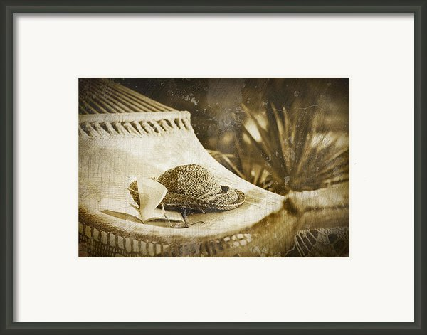 Grunge Photo Of Hammock And Book Framed Print By Sandra Cunningham