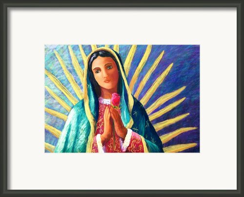 Guadalupe With Rose Framed Print By Candy Mayer
