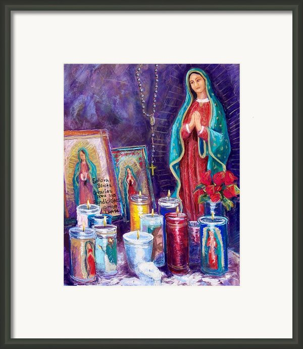 Guadalupe Y Las Velas Candles Framed Print By Candy Mayer