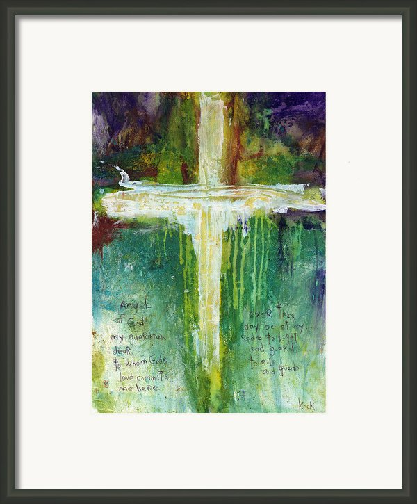 Guardian Angel Prayer Framed Print By Michel  Keck