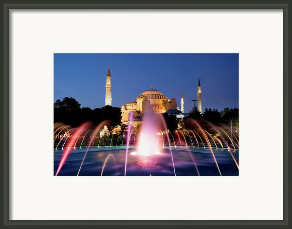 Hagia Sophia At Night Framed Print By Artur Bogacki