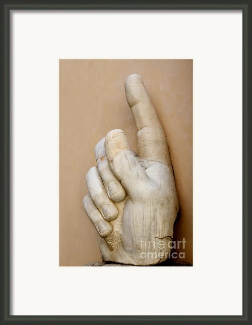Hand With Pointing Index Finger. Statue Of Constantine. Palazzo Dei Conservatori. Capitoline Museums Framed Print By Bernard Jaubert